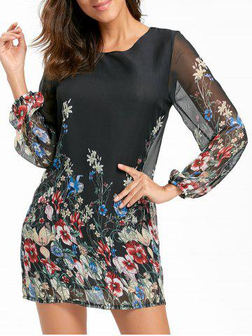 Fancy Sheer Long Sleeve Floral Mini Chiffon Dress BLACK L