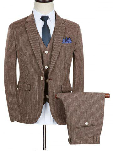 Sale Slim Fit Stripe Lapel Casual Business Suit COFFEE 2XL