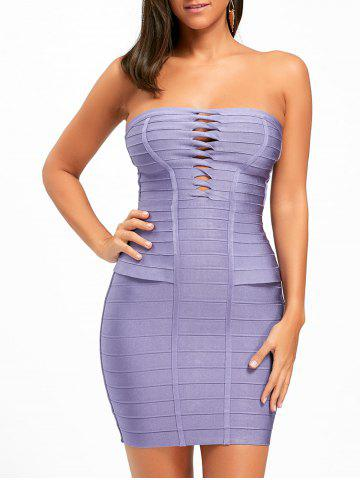 Trendy Hollow Out Strapless Bandage Dress PURPLE M