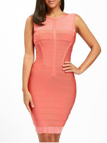 Shops Back Cut Out Mesh Panel Bandage Dress - S ORANGE RED Mobile