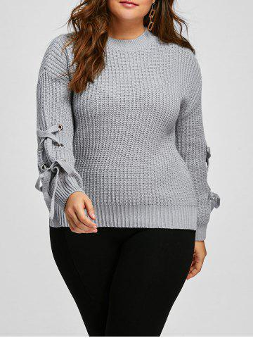 Gray One Size Knit Lace Up Sleeve Plus Size Ribbed Sweater ...