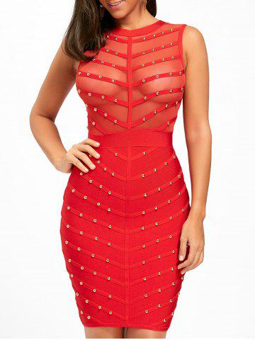 Buy Mesh Insert Studded Sleeveless Bandage Dress RED S