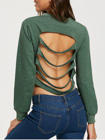 Best Ripped Backless Crop Sweatshirt ARMY GREEN S