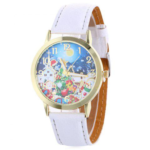 Unique Christmas Night Tree Face Quartz Watch - WHITE  Mobile