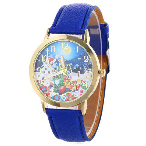 Latest Christmas Night Tree Face Quartz Watch - BLUE  Mobile