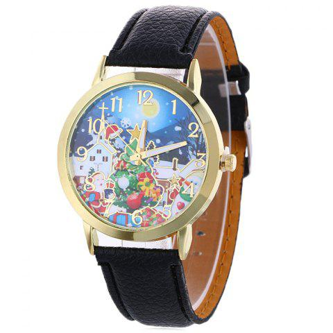 Cheap Christmas Night Tree Face Quartz Watch BLACK