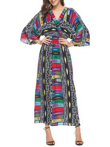 Best Bohemian Long Printed Beach Dress - M COLORMIX Mobile