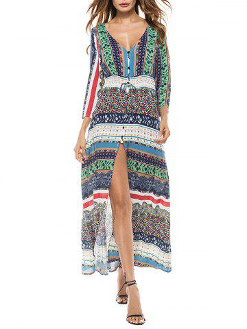 Unique Bohemian Slit Flowy Long Print Dress COLORMIX S