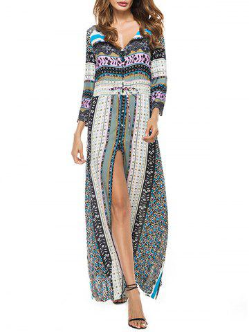 Store High Slit Plunge Bohemian Print Dress