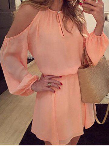 Outfit Cold Shoulder Chiffon Mini Dress ORANGE PINK S