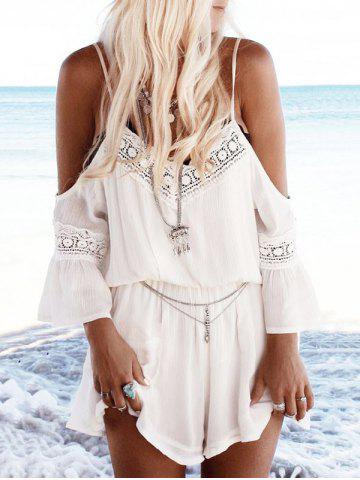 Cold Shoulder Lace Insert Casual Romper Blanc S