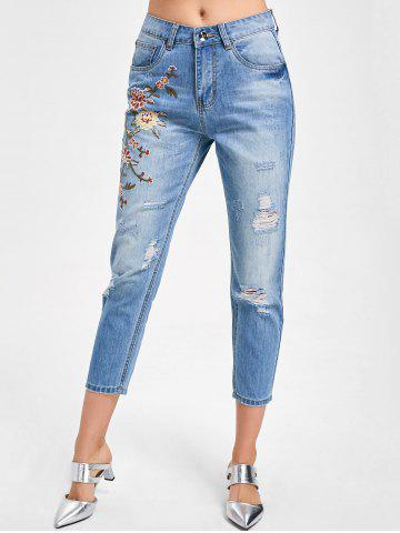 New Embroidered Distressed Capri Jeans - L DENIM BLUE Mobile