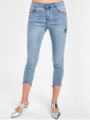 Affordable Embroidered Faded Capri Jeans DENIM BLUE L