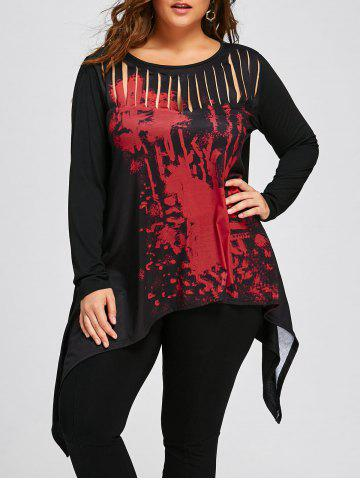 Fashion Halloween Plus Size Two Tone Ripped Top
