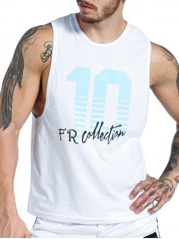 Best Number Graphic Print Tank Top WHITE XL