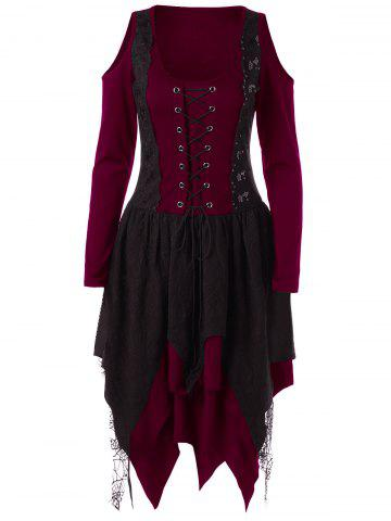 Trendy Halloween Lace Up Handkerchief Layered Gothic Dress