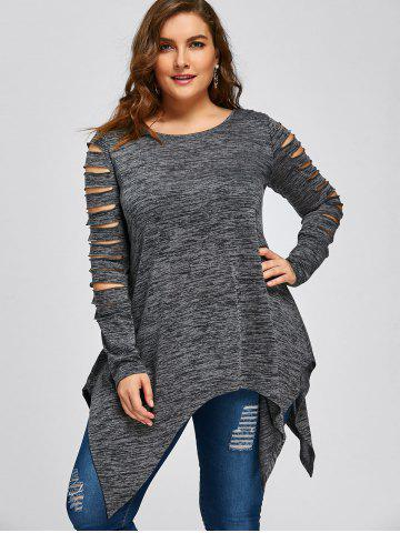 Plus Size Ripped Sleeve Marled Handkerchief Top