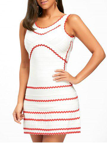 Chic A-line Contrast Wavy Stripe Bandage Dress