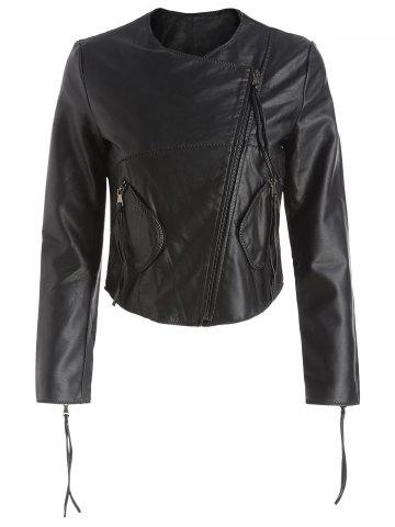 Zipper Fly Double Pockets Faux Leather Jacket
