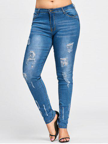 Discount Plus Size Beach Destroyed Wash Skinny Jeans