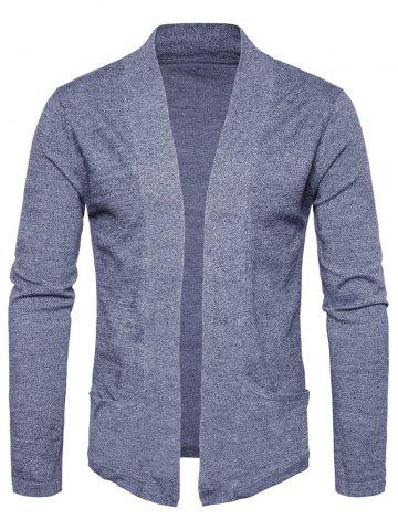 Pockets Knitted Open Front Cardigan