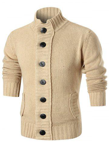 Ribbed Knit Button Up Sweater Cardigan - COFFEE - XL