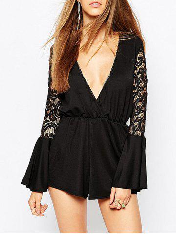 Sale Plunging Neckline Lace Panel Surplice Romper
