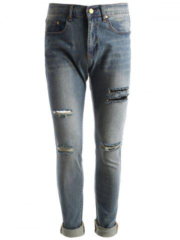 Faded Wash Ripped Jeans - BLUE - 34