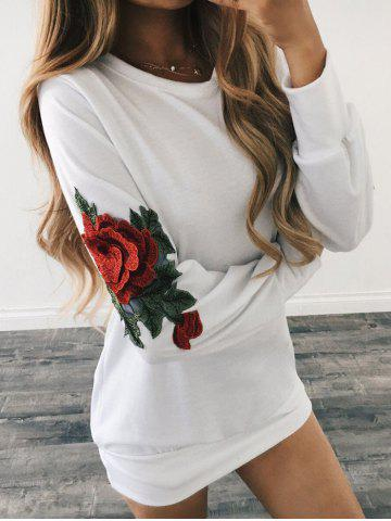Flower Embroidery Tunic Sweatshirt - WHITE - S