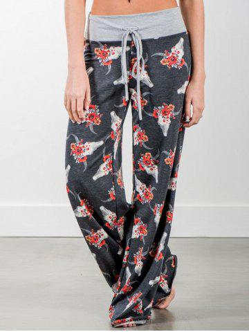 Discount Flower Print Wide Leg Casual Pants