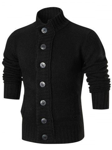 Black L Ribbed Knit Button Up Sweater Cardigan | RoseGal.com