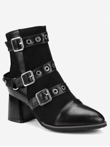 Cheap Ankle Chunky Multi Buckle Straps Boots