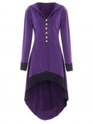 Hooded Lace Insert Lace-up High Low Coat -