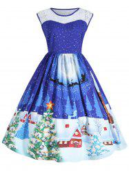 Christmas Plus Size Lace Panel Sleeveless Party Dress - Blue - Xl