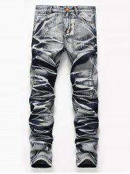 Tie Dye Zip Fly Straight Jeans - COLORMIX 32