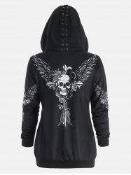 Halloween Skull Wings Print Zip Up Hoodie - Black - 2xl