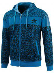 Geometric Print Zip Up Plus Size Hoodie -