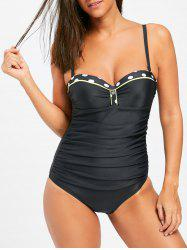 Push Up Ruched One Piece Swimsuit - BLACK M