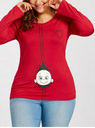 Cartoon Baby Print Plus Size Long Sleeve T-shirt - Red - Xl