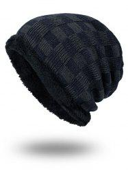 Outdoor Checked Pattern Velvet Slouchy Beanie - PURPLISH BLUE