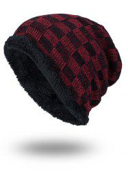 Outdoor Checked Pattern Velvet Slouchy Beanie - DARK RED