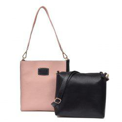 Patch Pocket Contrasting Color Shoulder Bag Set -