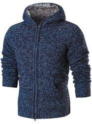 Faux Fur Lining Zip Up Hooded Cardigan -