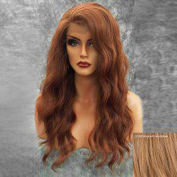 Long Side Bang Fluffy Natural Wavy Lace Front Human Hair Wig - BLONDE WITH AUBURN BROWN