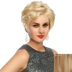 Short Side Bang Fluffy Slightly Curled Human Hair Lace Front Wig -