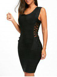 Side Cross Mesh Insert Bandage Dress - BLACK M