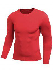 Quick Dry Fitted Gym Long Sleeve T-shirt - RED 2XL