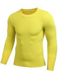 Quick Dry Fitted Gym Long Sleeve T-shirt - YELLOW 2XL