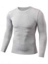 Quick Dry Fitted Gym Long Sleeve T-shirt - LIGHT GRAY 2XL