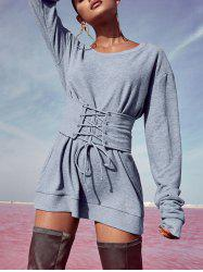 Sweatshirt Dress with Corset Belt -